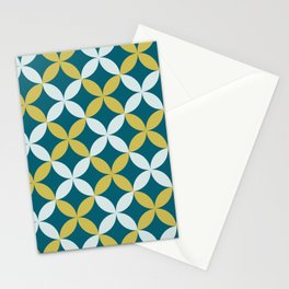 Dark Teal, Pale Blue and Dark Yellow 4 Leaf Minimal Flower Petal Pattern Inspired by Sherwin Williams 2020 Trending Color Oceanside SW6496 Stationery Cards