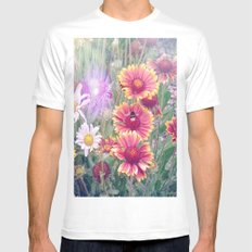 Multi Coloured Flowers with Bee MEDIUM Mens Fitted Tee White