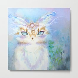 Lavadrille Cat : Guardian of the Mind Metal Print