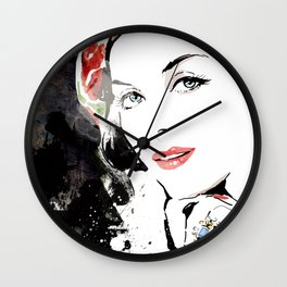 Classical Beauty, Fashion Painting, Fashion IIlustration, Vogue Portrait, Black and White, #12 Wall Clock