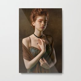 Girl with a Pearl Necklace Metal Print