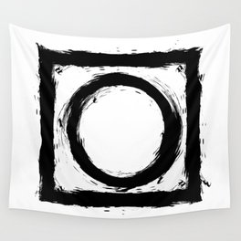 Black and white shapes splatter Wall Tapestry