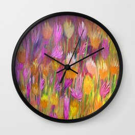 Field of Flowers in Yellow and Pink Wall Clock