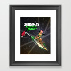 Christmas Pin-Up - Search & Destroy Rocket Framed Art Print