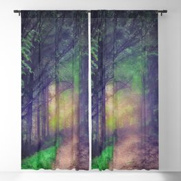 Magical forest watercolor painting Blackout Curtain