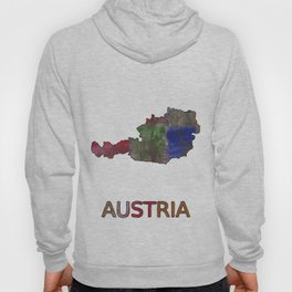 Austria map outline Multicolor hand-drawn watercolor pattern Hoody