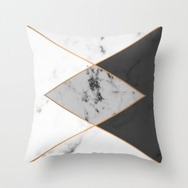 Geometric marble & copper Throw Pillow