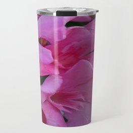Closeup Shot of Pink Flowers on Oleander Shrub Travel Mug
