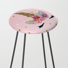 Floral Trendy Modern Unicorn Horn Gold Confetti Counter Stool