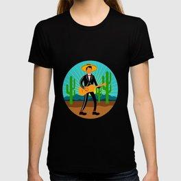 Mexican Mariachi in Desert Circle Retro T-shirt