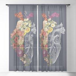 Flower Heart Spring Blue Grey Sheer Curtain
