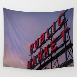 Pike Place Neon Sunrise Wall Tapestry
