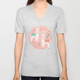 Lovely Llama on Pink Unisex V-Neck