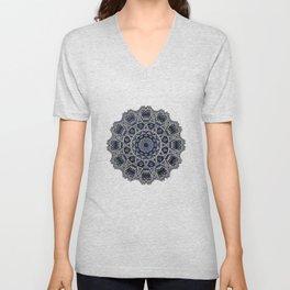 Cream Colored Mandala in Dark Blue Background Unisex V-Neck