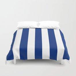 Catalina blue - solid color - white vertical lines pattern Duvet Cover