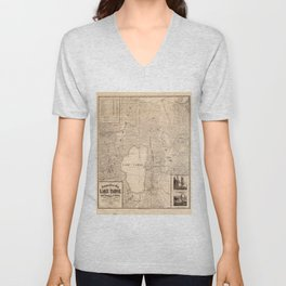 Vintage Map of Lake Tahoe Calfornia (1874) Unisex V-Neck