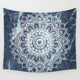 Pleasure White On Blue Marble Wall Tapestry