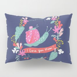 Mommy I LOVE YOU! Mum and baby snail with flowers, nvy Pillow Sham