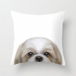 Shihtzu Brown tone by miart Throw Pillow