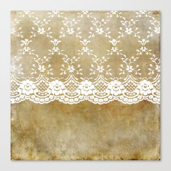 The elegant lady- White luxury foral lace on grunge backround Canvas Print