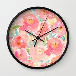 Preppy Pink Peonies Wall Clock