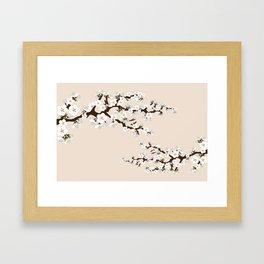 Japanese Sakura Cherry Blossoms (ivory/white) Framed Art Print