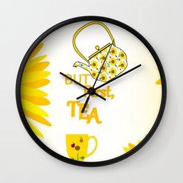 Sunflowers And Tea Wall Clock