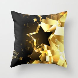 Abstract golden background with stars Throw Pillow