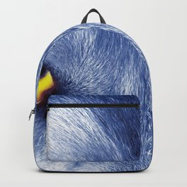 Gorgeous Elegant Blue Tint Grey Wolf Face Eyes Glowing Close Up Ultra HD Backpack