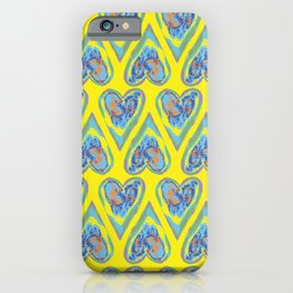 Hearts on Yellow iPhone Case