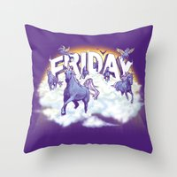 friday Throw Pillows featuring Friday! by littleclyde