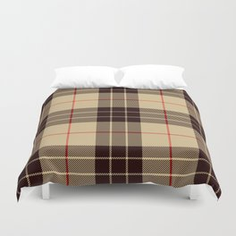 Tan Tartan with Black and Red Stripes Duvet Cover