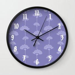 Long Stem Flowers on Blue Background Wall Clock