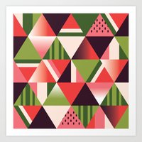watermelon Art Prints featuring watermelon by Gray