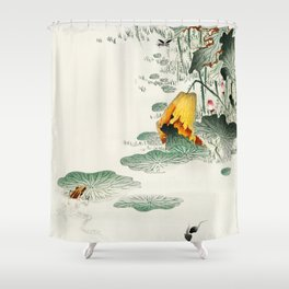 Frog in the swamp  - Vintage Japanese Woodblock Print Art Shower Curtain