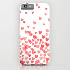 Hearts - Valentines Glitter Hearts in pink on white background for trendy girls valentines day iPhone 6 Slim Case