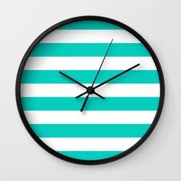 Aqua Horizontal Stripes Pattern Wall Clock