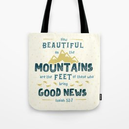 """How Beautiful on the Mountains"" Hand-Lettered Bible Verse Tote Bag"