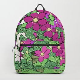 Swirling vines of Clematis in shades of pink and green Backpack