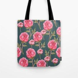 Pink Peonies On Green Background Tote Bag