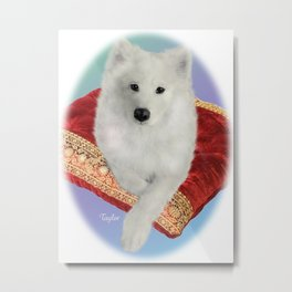 Samoyed Portrait; Taylor on Royal Cushion--Oval Metal Print