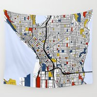 mondrian Wall Tapestries featuring Seattle Mondrian by Mondrian Maps