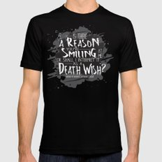 Death Wish quote Design Black 2X-LARGE Mens Fitted Tee