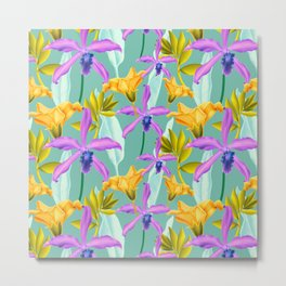 Bold AND Bright Tropical Colored Purple Orchids and Yellow Lilies Metal Print