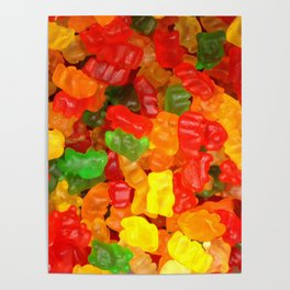 red orange yellow colorful gummy bear Poster