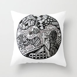 Black and White Biblical Zentangle Mandela Artwork with Colossians 3:2 Throw Pillow