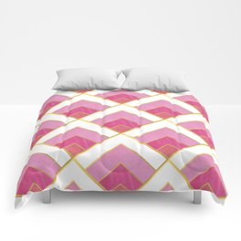 Pink and Gold Diamond Art Deco Pattern Comforters