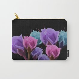 Pink Lilac and Blue Pastel Roses On Black Carry-All Pouch