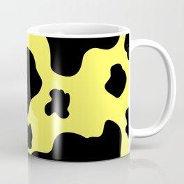 Cow Print Pattern / White / Black / GFTCowPrint002 / Yellow Background  Coffee Mug