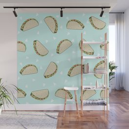 Tacos pattern food art taco design dorm college foodie Wall Mural